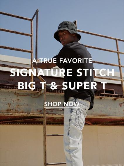 Mens Signature stitch, big T and super T.