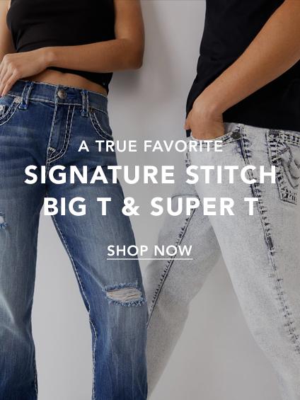 Signature stitch, big T and super T.