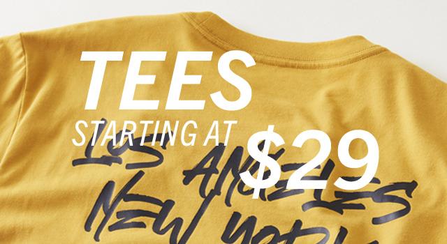 Tees starting at $29.